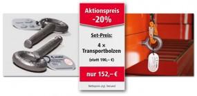 Verkaufsaktion Transportbolzen – Erhalten Sie 20% Rabatt auf 4er Sets